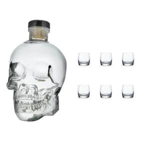 Crystal Head Vodka mit 6 Bohemia Crystal Shotgläser
