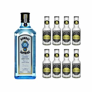 Bombay Sapphire London Dry Gin 70cl avec 8x Fentiman's Tonic Water