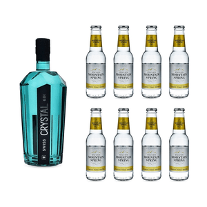 Swiss Crystal Gin 70cl avec 8x Swiss Mountain Spring Classic Tonic Water
