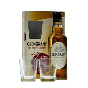 Glen Grant The Major's Reserve mit zwei Gläsern