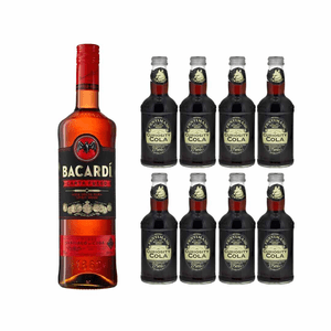 Bacardi Carta Fuego Red Spiced 70cl avec 8x Fentimans Curiosity Cola