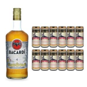 Bacardi Añejo Cuatro 70cl mit 12x Gosling's Ginger Beer