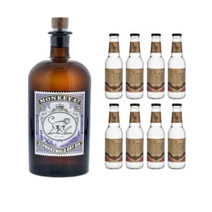 Monkey 47 Schwarzwald Dry Gin 50cl mit 8x Doctor Polidori's Dry Tonic Water