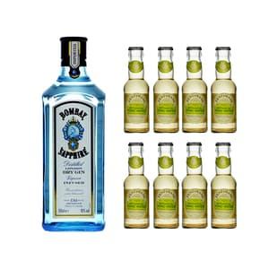 Bombay Sapphire London Dry Gin 70cl mit 8x Fentiman's Botanical Tonic Water