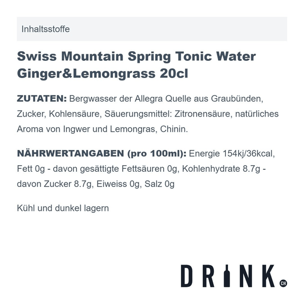 Swiss Mountain Spring Tonic Water Ginger & Lemongrass 20cl 4er Pack
