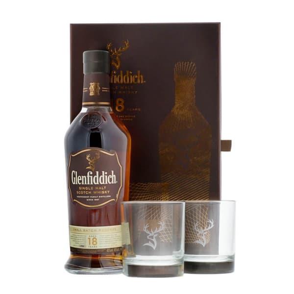 Glenfiddich 18 Years Single Malt Whisky Ensemble avec 2 Verres 70cl