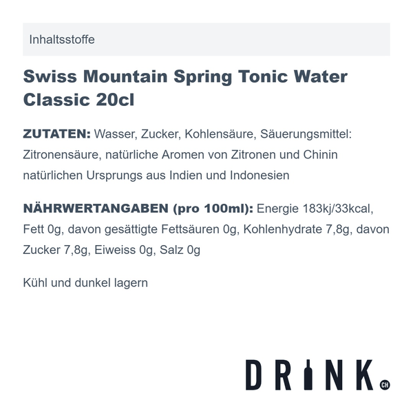 Granit Bavarian Gin 70cl mit 8x Swiss Mountain Spring Classic Tonic Water