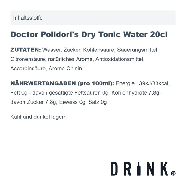 Doctor Polidori's Dry Tonic Water 20cl 4er Pack
