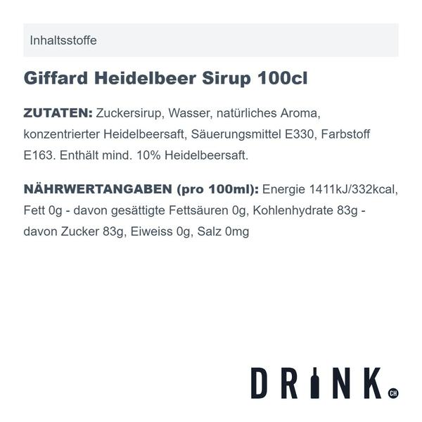 Giffard Heidelbeer Sirup 100cl