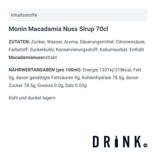 Monin Macadamia Nuss Sirup 70cl