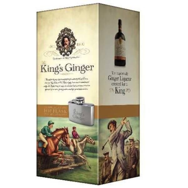 The King's Ginger Liqueur 50cl mit Flachmann