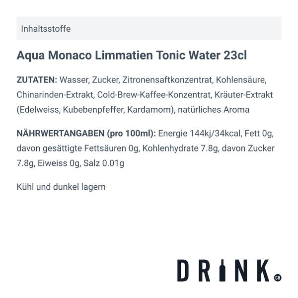 Aqua Monaco Limmatien Tonic Water 23cl, 4er-Pack
