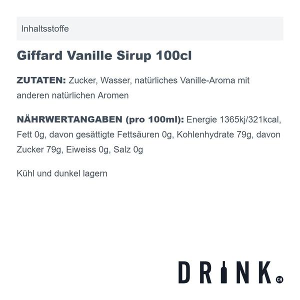 Giffard Vanille Sirup 100cl