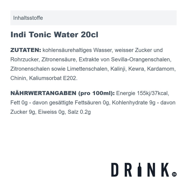 Indi Tonic Water 20cl 4er Pack