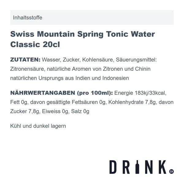 Saffron Gin Boudier 70cl mit 8x Swiss Mountain Spring Classic Tonic Water