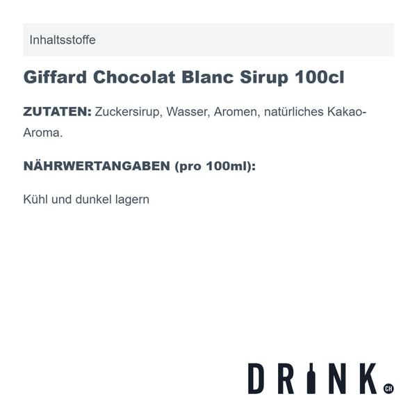 Giffard Chocolat Blanc Sirup 100cl