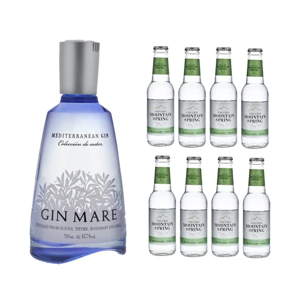 Gin Mare Mediterranean Gin 70cl mit 8x Swiss Mountain Spring Tonic Water Rosemary
