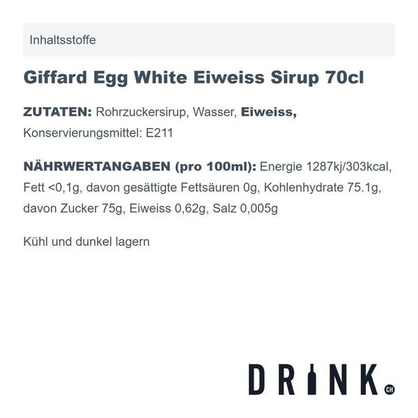 Giffard Egg White Eiweiss Sirup 70cl