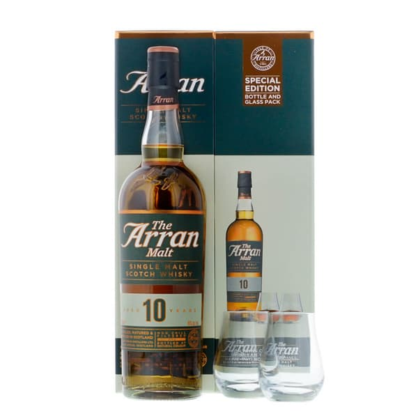The Arran Malt 10 Years Single Malt Scotch Whisky mit zwei Gläser 70cl