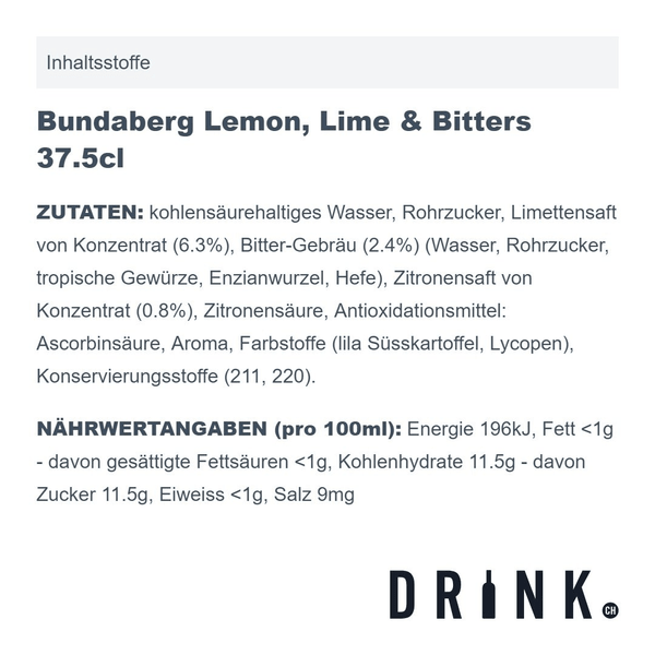 Bundaberg Lemon, Lime & Bitters 37.5cl 4er Pack
