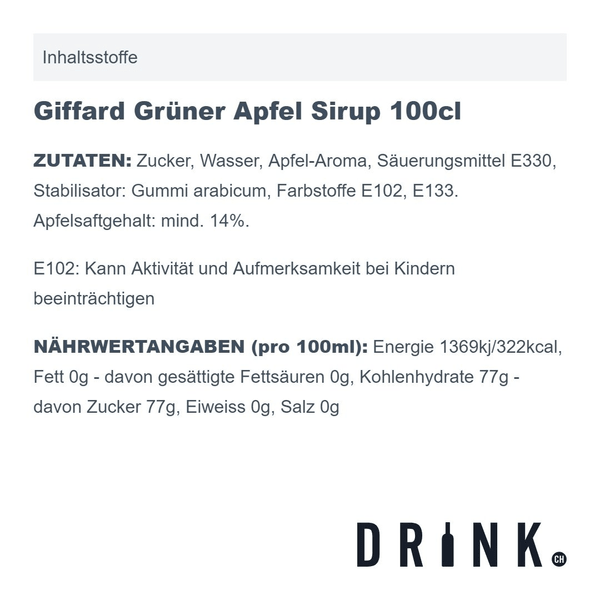 Giffard Grüner Apfel Sirup 100cl