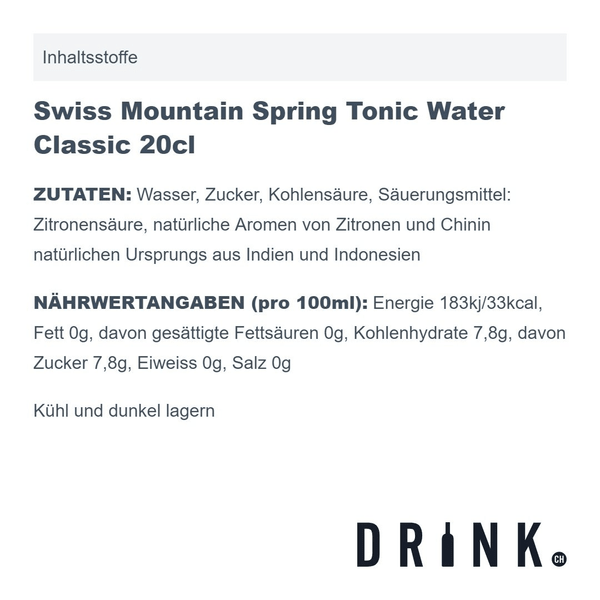 Swiss Mountain Spring Tonic Water Classic 20cl 4er Pack