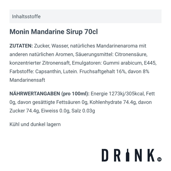 Monin Mandarine Sirup 70cl