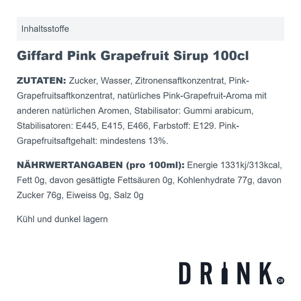 Giffard Pink Grapefruit Sirup 100cl