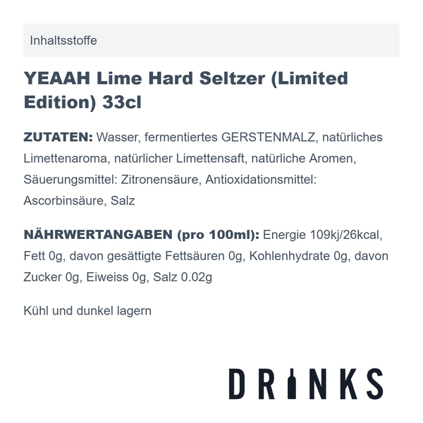 YEAAH Lime Hard Seltzer (Limited Edition) 33cl, 6er-Pack