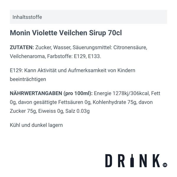 Monin Violette Veilchen Sirup 70cl
