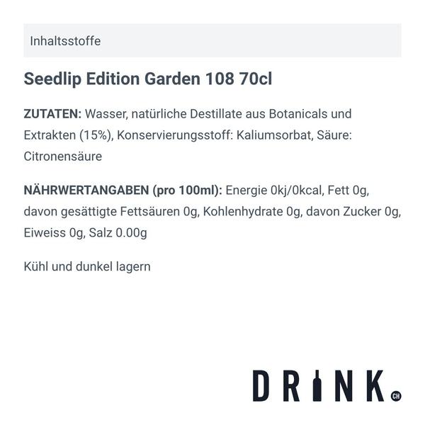 Seedlip Edition Garden 108 70cl