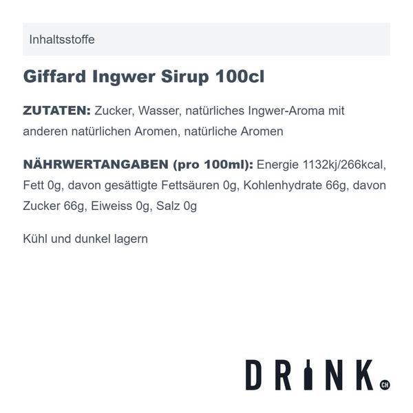 Giffard Ingwer Sirup 100cl