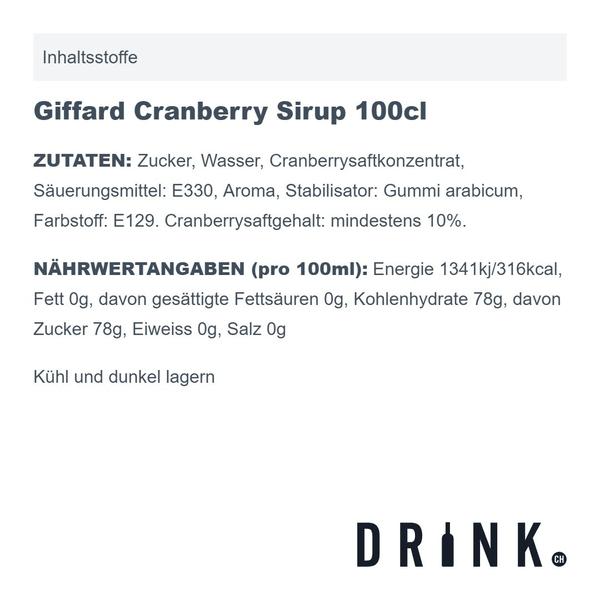 Giffard Cranberry Sirup 100cl