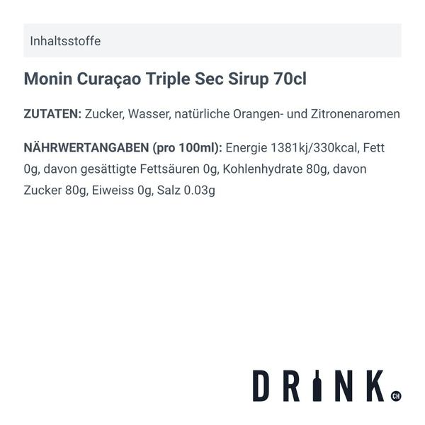Monin Curaçao Triple Sec Sirup 70cl