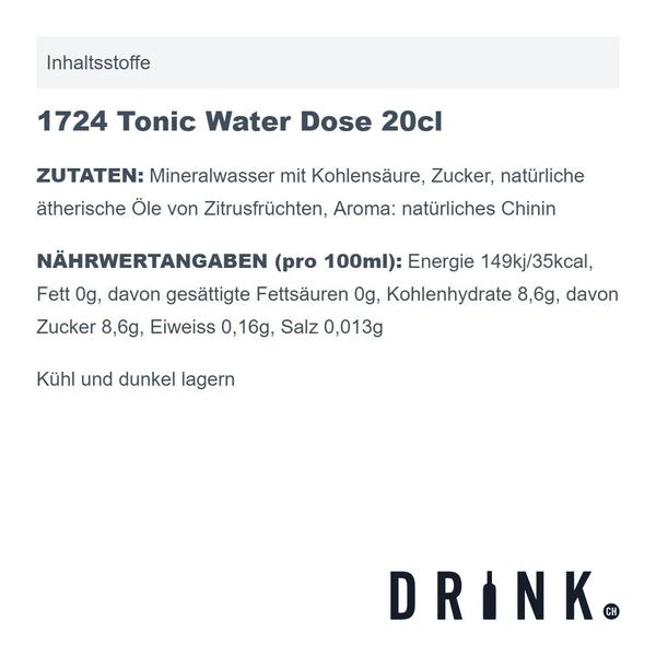 Seventeen 1724 Tonic Water Dose 20cl 6er Pack