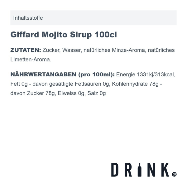 Giffard Mojito Sirup 100cl