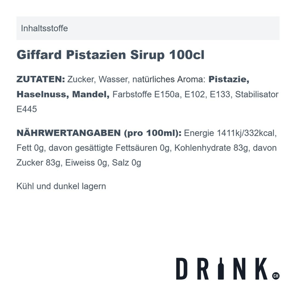 Giffard Pistazien Sirup 100cl