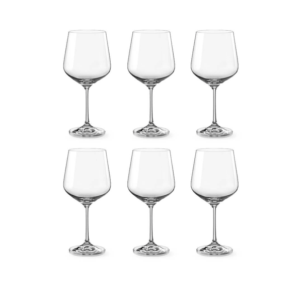 Bohemia Crystal Glass Sandra Burgundy 57cl, 6er-Set