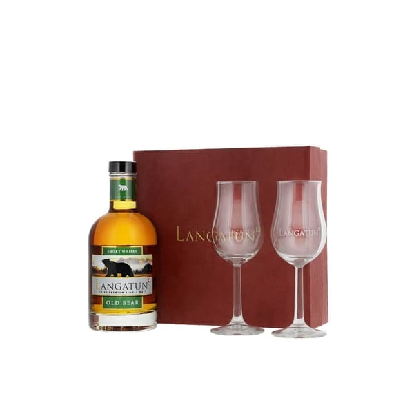 Langatun Old Bear Whisky Smoky 35cl mit 2 Gläser