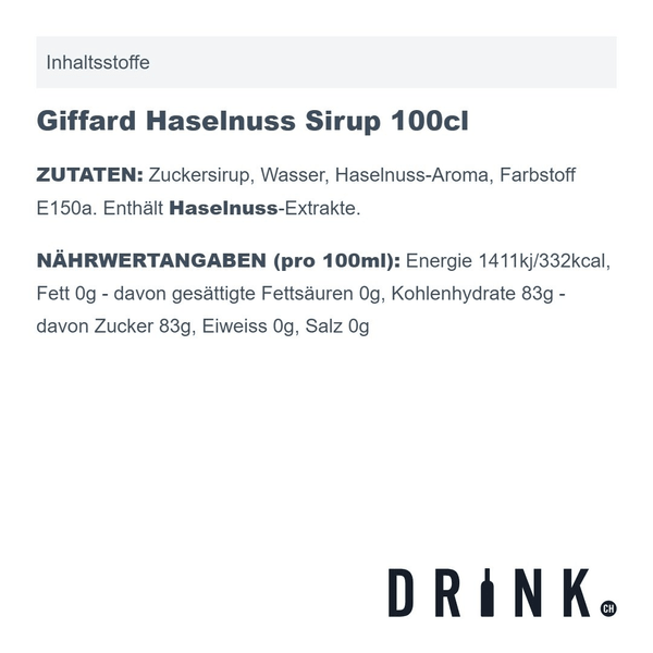 Giffard Haselnuss Sirup 100cl