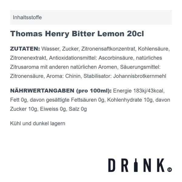 Thomas Henry Bitter Lemon 20cl 4er Pack