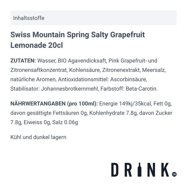Swiss Mountain Spring Salty Grapefruit Lemonade 20cl, 4er-Pack