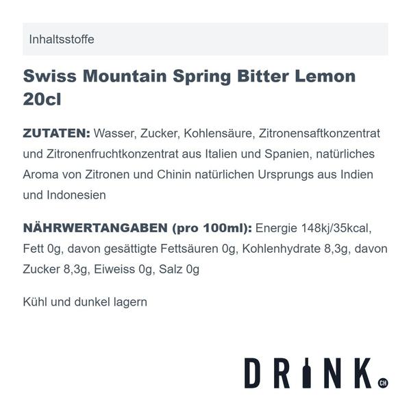 Swiss Mountain Spring Bitter Lemon 20cl 4er Pack