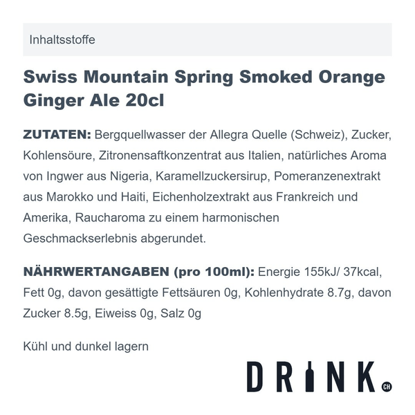 Swiss Mountain Spring Smoked Orange Ginger Ale, 4er-Pack