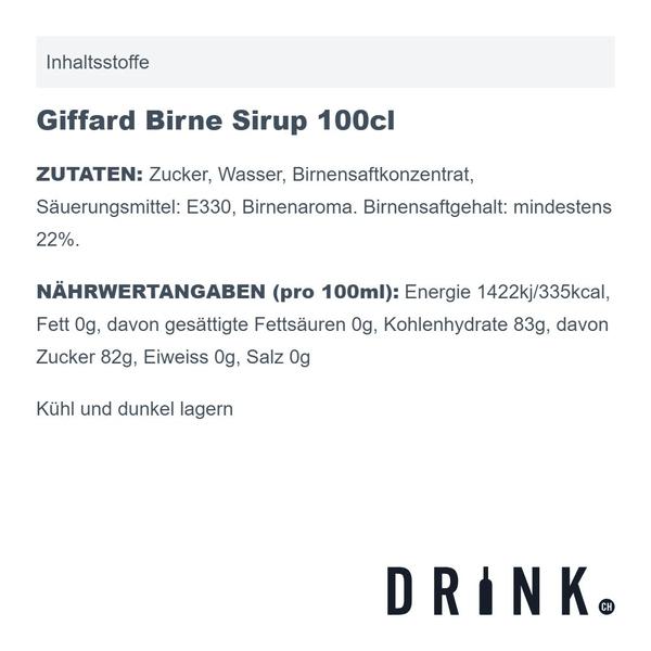 Giffard Birne Sirup 100cl