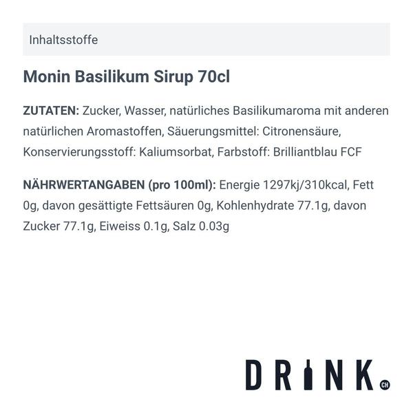 Monin Basilikum Sirup 70cl