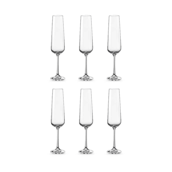 Bohemia Crystal Glass Sandra Flute 20cl, 6er-Set
