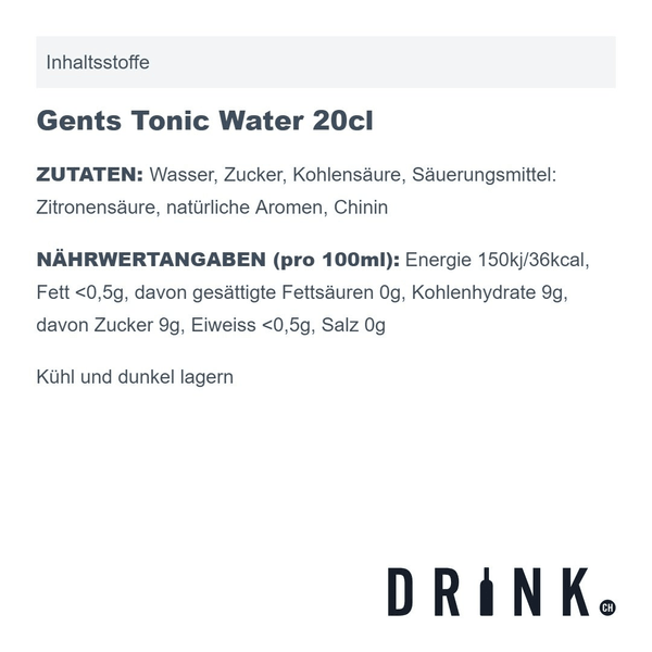 Gents Tonic Water 20cl 4er Pack