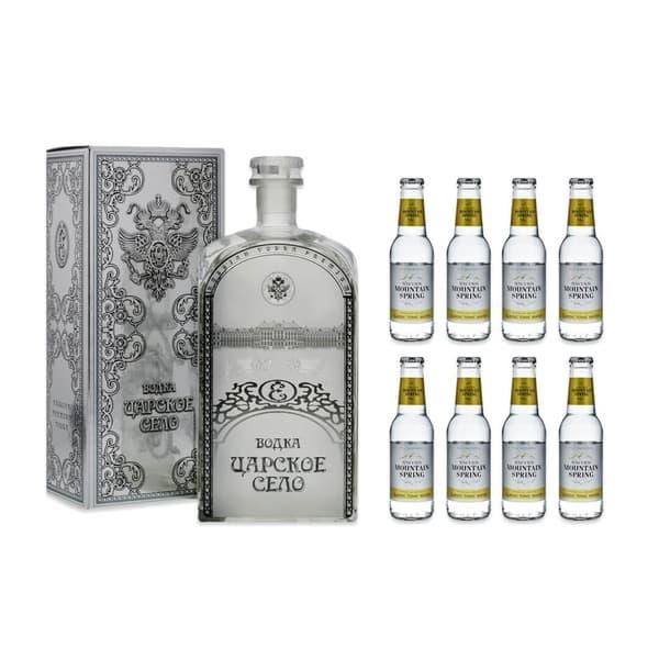 Czar's Village Vodka 70cl mit 8x Swiss Mountain Spring Ginger & Lemongrass