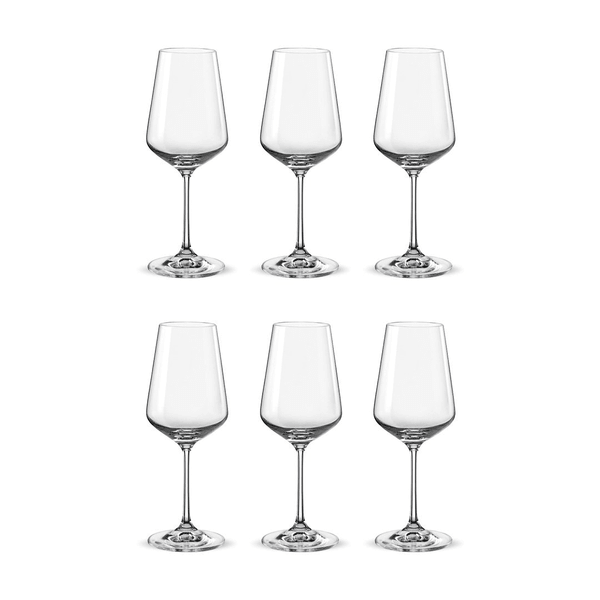 Bohemia Crystal Glass Sandra Wine 35cl, 6er-Set